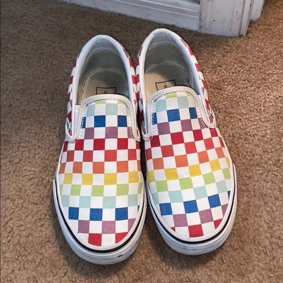 cheap rainbow checkered vans